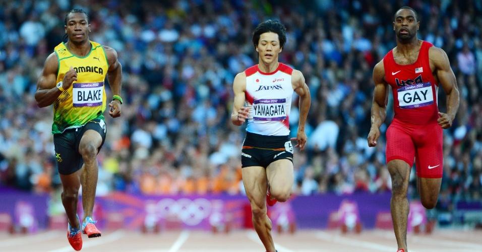 Yohan Blake (Jamaica), Ryota Yamagata (Japão) e Tyson Gay (Estados Unidos) competem em bateria semifinal dos 100 m rasos