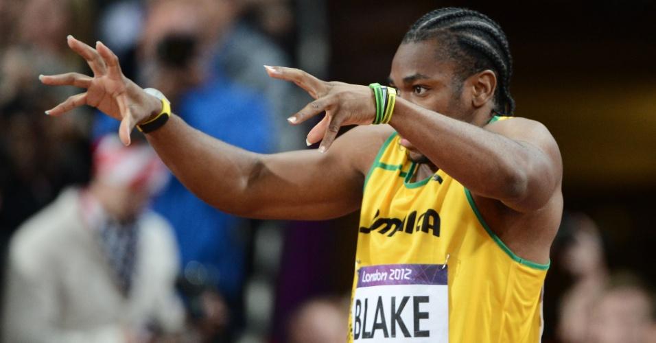 Yohan Blake prepara-se para a final olímpica dos 100 m rasos