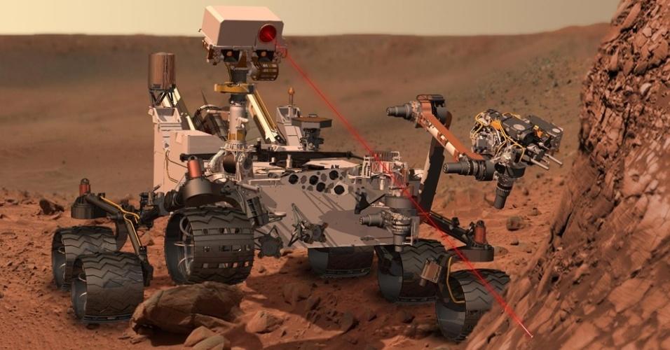 6.ago.2012 - O jipe-robô deve explorar Marte por pelo menos dez anos. Equipado com uma câmera capaz de identificar a composição de rochas, o 'Curiosity' tem geradores de plutônio capazes de fornecer energia durante 14 anos para a missão