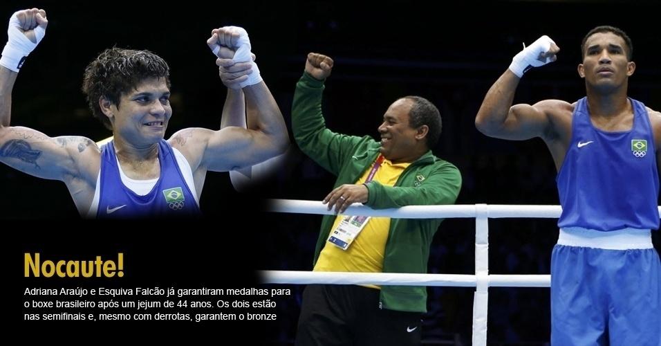 Adriana Araújo e Esquiva Falcão já garantiram medalhas para o boxe brasileiro após um jejum de 44 anos. Os dois estão nas semifinais e, mesmo com derrotas, garantem o bronze
