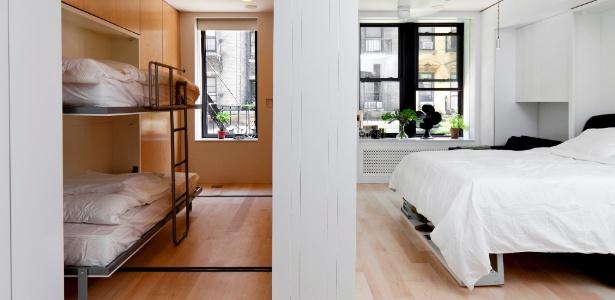 Apê de 39 m² em NY tem paredes móveis e atinge 102 m² de área útil, pela modificação dos ambientes - Trevor Tondro/ The New York Times