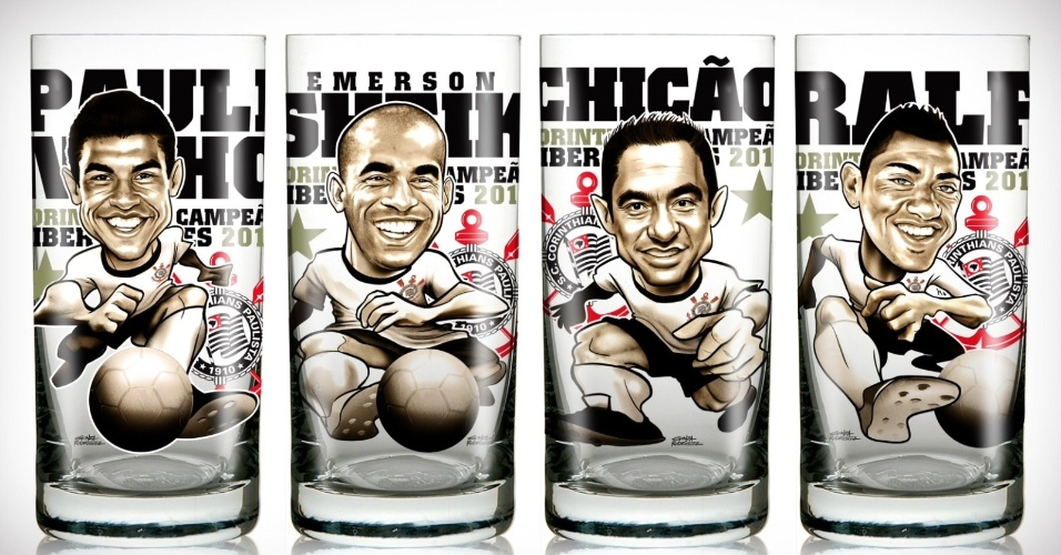 Corinthians lança linha de copos com caricatura de jogadores campeões da Libertadores