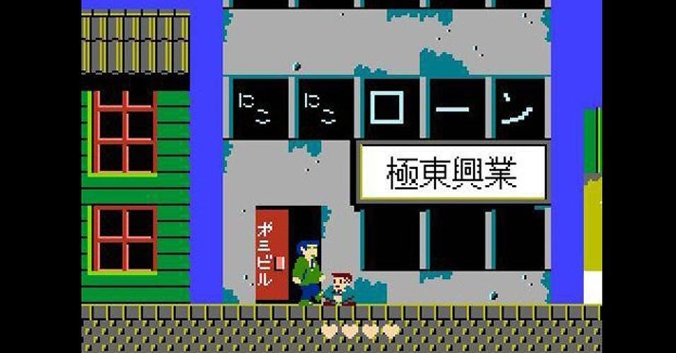 """Drigido pelo comediante Takeshi Kitano, """"Takeshi's Challenge"""" saiu para NES só no Japão e traz tarefas absurdas, como cantar karaokê no microfone do segundo controle do videogame"""