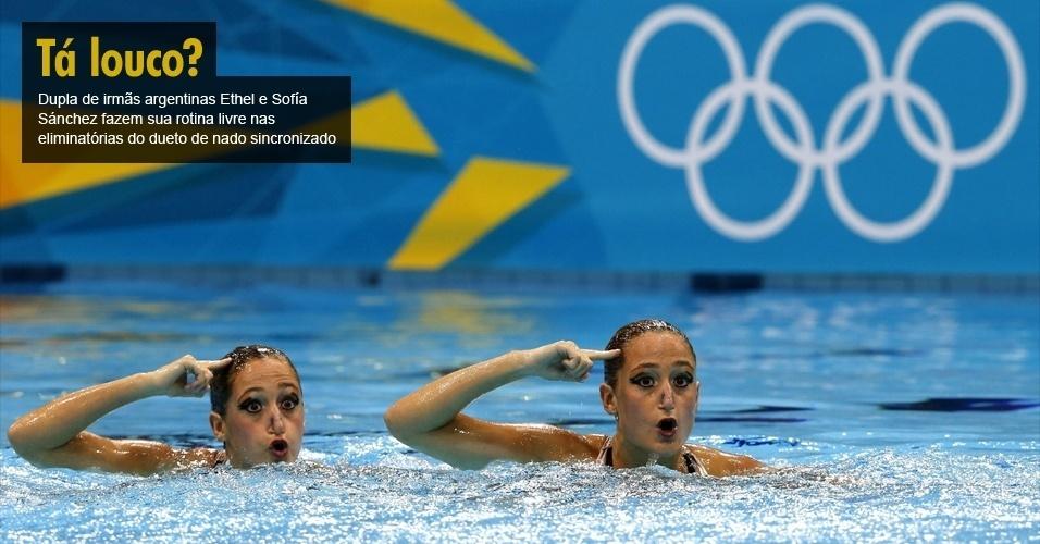 Dupla de irmãs argentinas Ethel e Sofía Sánchez fazem sua rotina livre nas eliminatórias do dueto de nado sincronizado