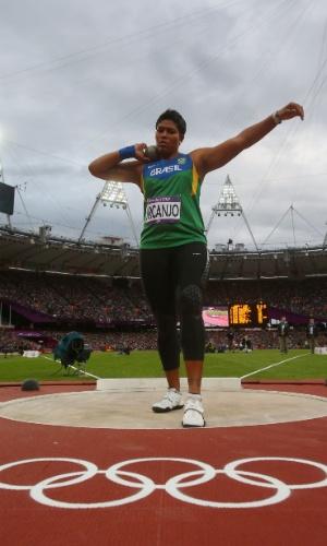Geisa Arcanjo disputa a competição de arremesso de peso nos Jogos Olímpicos