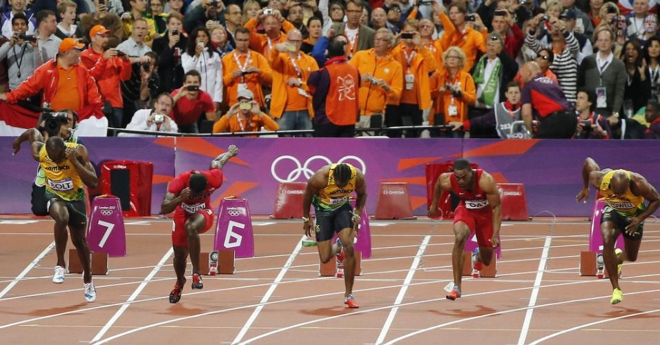 Homem pode ser visto de azul após atirar garrafa na pista antes da largada dos 100m rasos