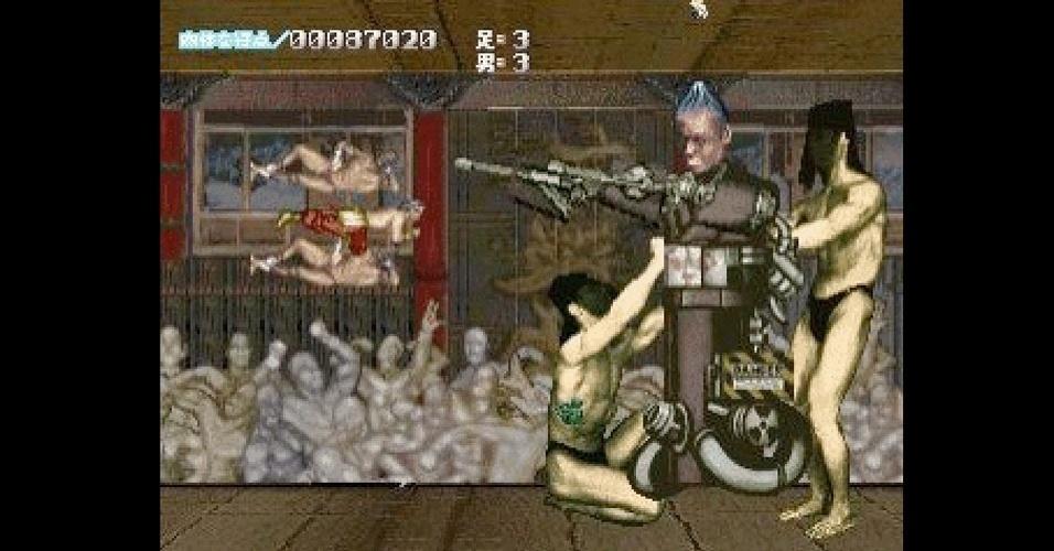 """Homens fortões e musculosos dão forma a inimigos, heróis e às vezes até cenários nos jogos da série de tiro """"Cho Aniki"""""""