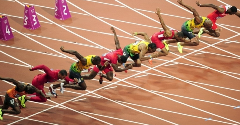 Imagem da largada dos 100 m rasos em Londres