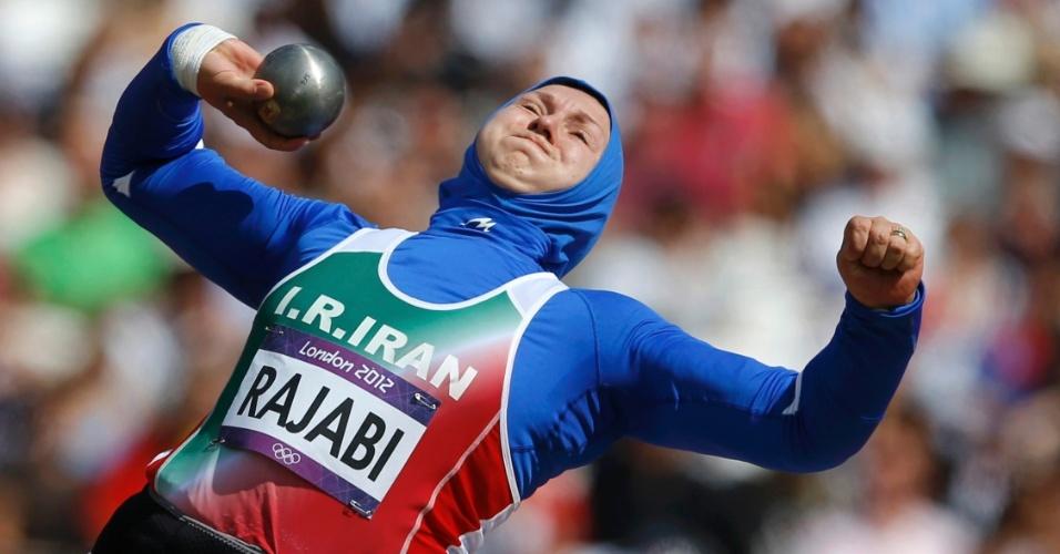 Iraniana Leyla Rajabi participa de eliminatória dos arremesso de peso