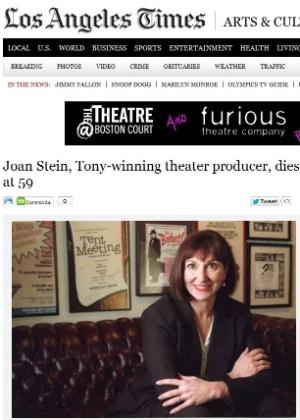 Joan Stein, produtora de peças vencedora de um prêmio Tony em 1999, morre nos EUA - LA Times / Reprodução