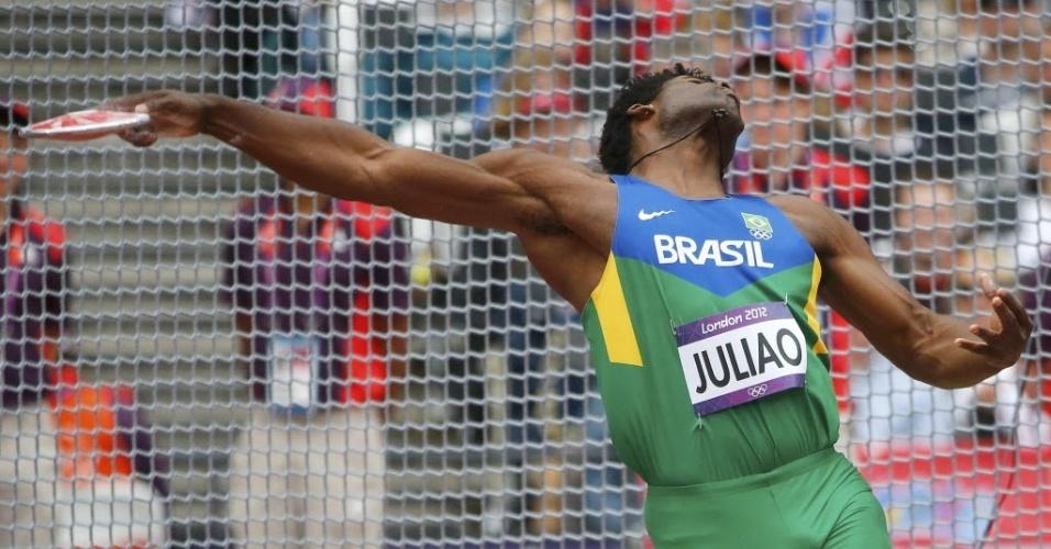 O brasileiro Ronald Julião ficou fora da final do lançamento de disco nos Jogos de Londres