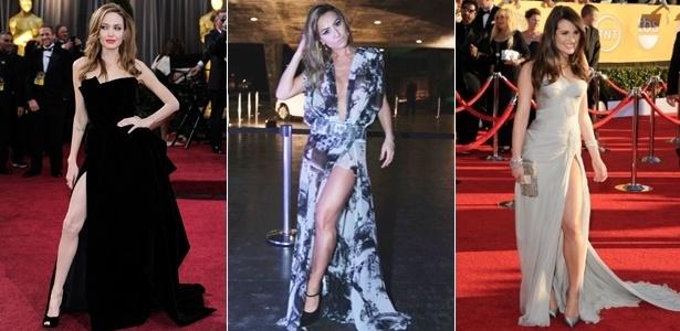 Angelina Jolie, Sabrina Sato e Lea Michelle exibem pernas torneadas através da fenda do vestido - Getty Images e AgNews