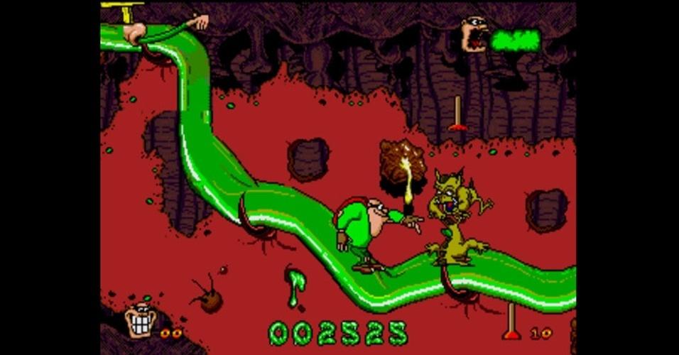 """Relíquia da era 16-bits, """"Boogerman"""" tem um protagonista que ataca com melecas de nariz, arrotos e outras nojeiras"""