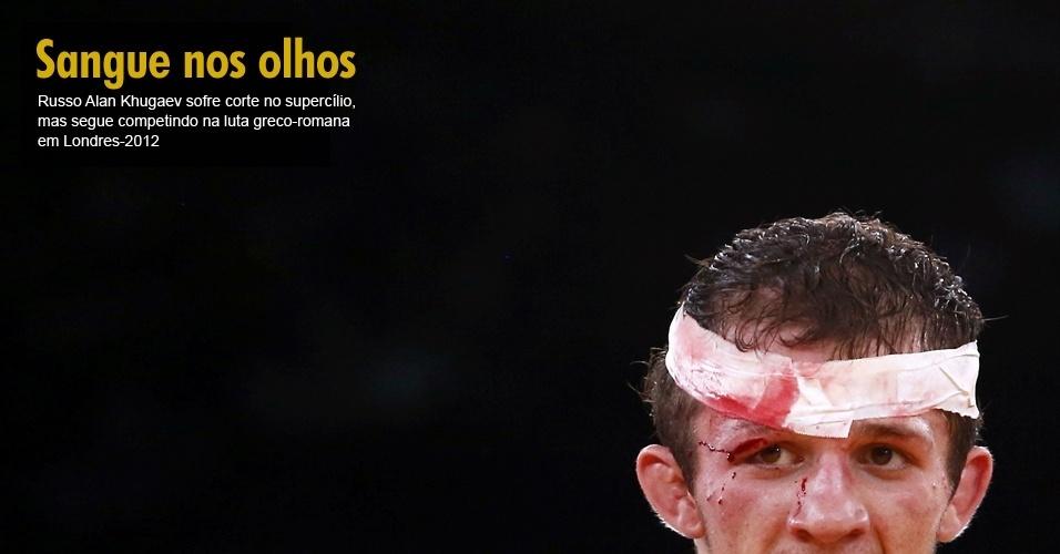 Russo Alan Khugaev sofre corte no supercílio, mas segue competindo na luta greco-romana em Londres-2012