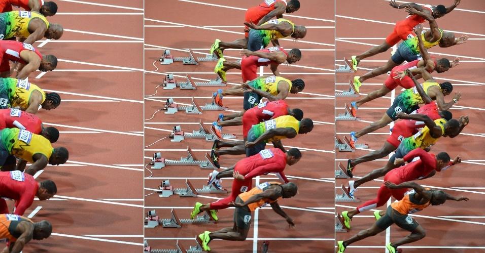 Sequência de fotos capta a largada da final dos 100 m rasos em Londres