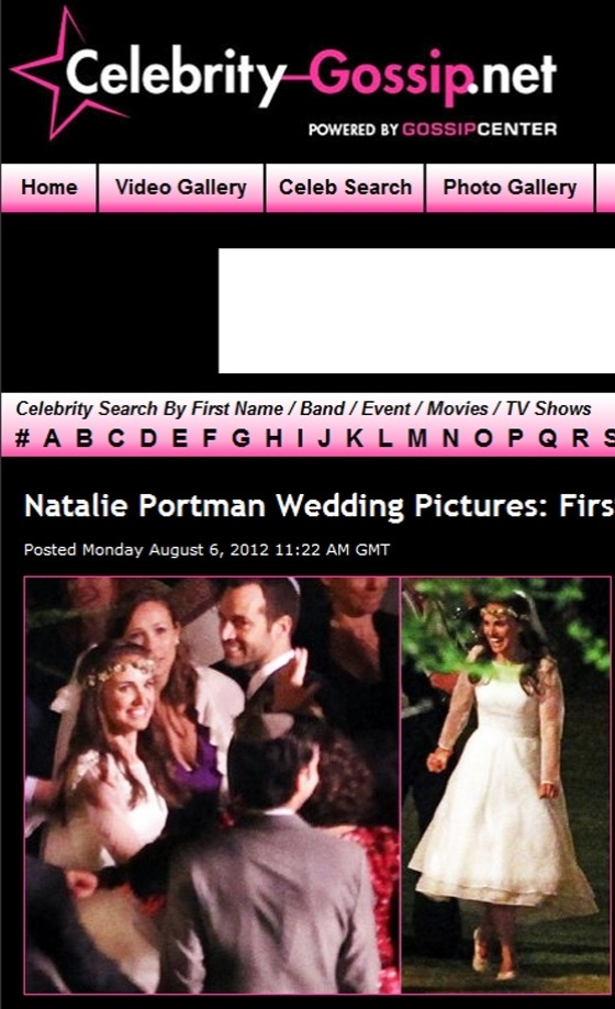 Site Celebrity-Gossip.net publica fotos do casamento da atriz Natalie Portman com Benjamin Millepied, realizado na Califórnia, no dia 4/8/2012