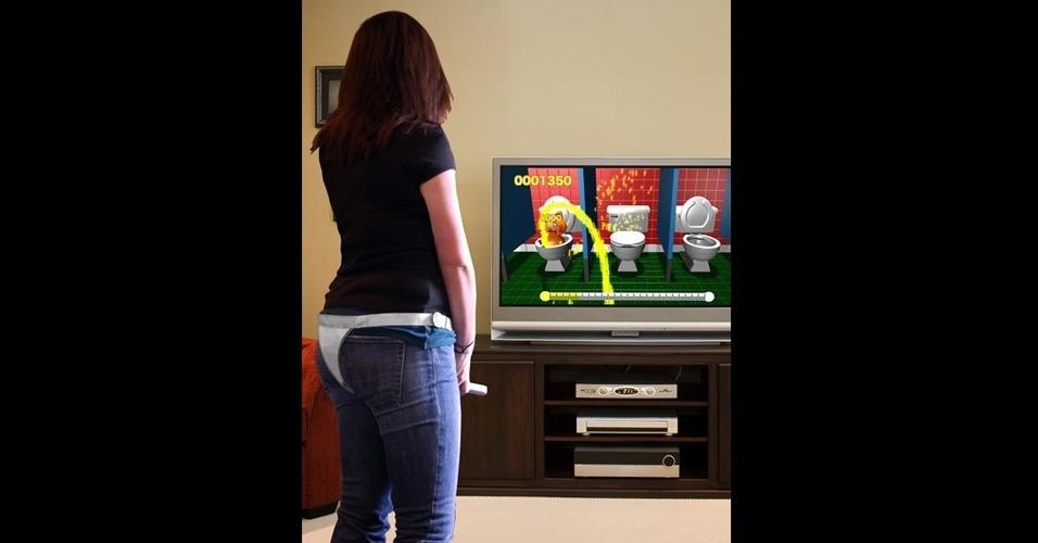 """""""Super Pii Pii Brothers"""", para Wii, ensina meninos a ter bons modos no banheiro - e dá às garotas a chance de fazer xixi de pé!"""