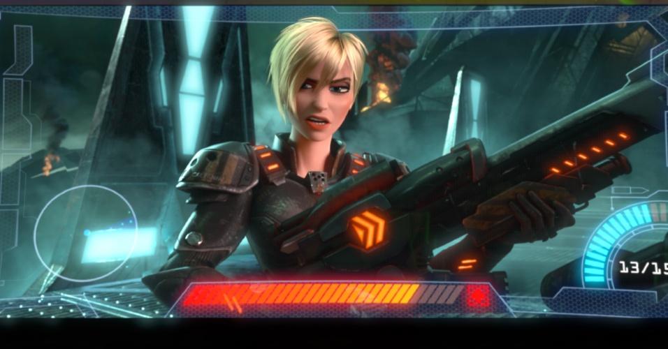 """A tenente Callhoum, é uma das personagens de """"Hero?s Duty"""", um dos games que aparecem em """"Detona Ralph"""""""