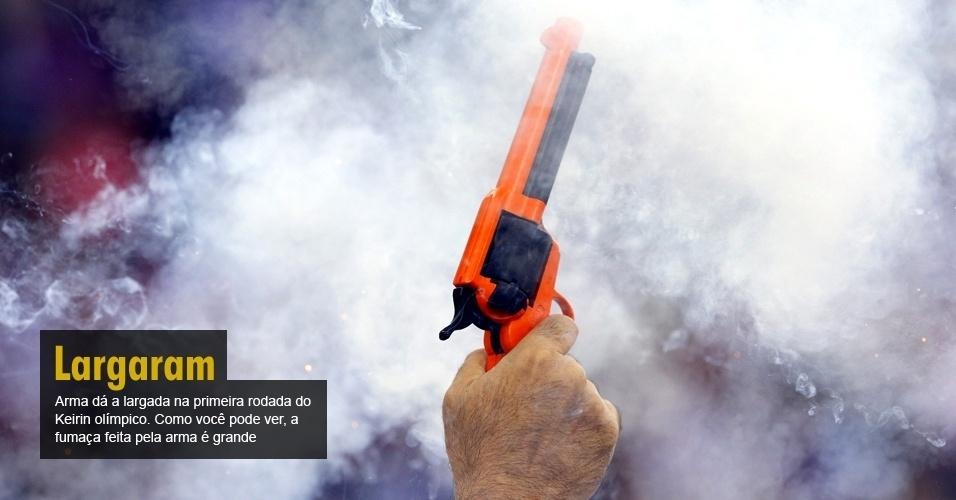 Arma dá a largada na primeira rodada do Keirin olímpico. Como você pode ver, a fumaça feita pela arma é grande