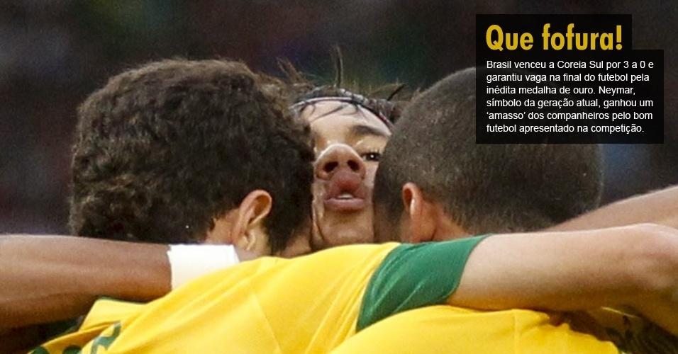 Brasil venceu a Coreia Sul por 3 a 0 e garantiu vaga na final do futebol pela inédita medalha de ouro. Neymar, símbolo da geração atual, ganhou um ?amasso? dos companheiros pelo bom futebol apresentado na competição.