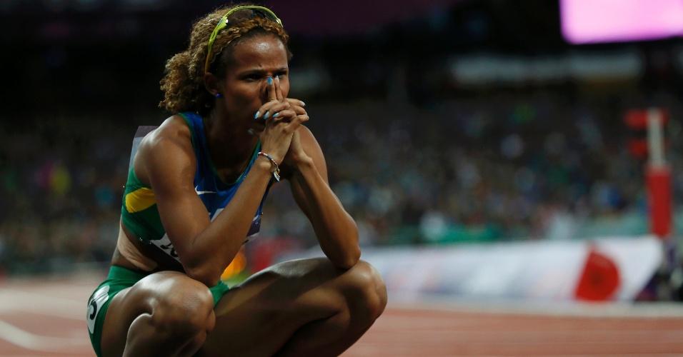 Brasileira Evelyn dos Santos após não se classificar para a final dos 200 m rasos