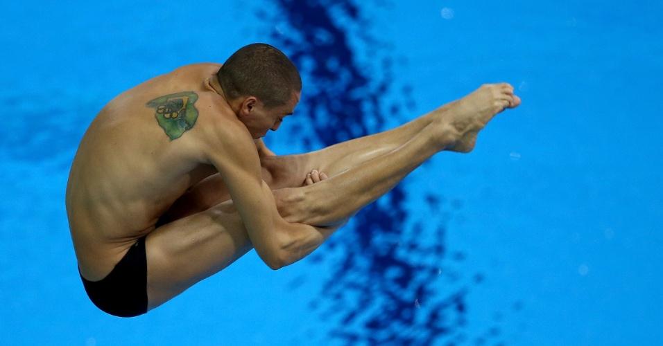 Brasileiro Cesar Castro realiza salto em semifinal do trampolim de 3m dos Jogos Olímpicos. Ele terminou em 18º e foi eliminado