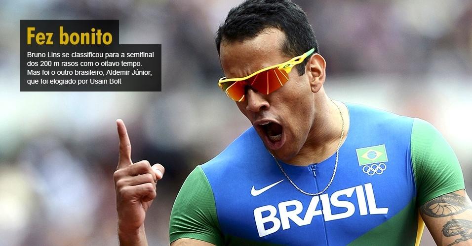 Bruno Lins se classificou para a semifinal dos 200 m rasos com o oitavo tempo. Mas foi o outro brasileiro, Aldemir Júnior, que foi elogiado por Usain Bolt