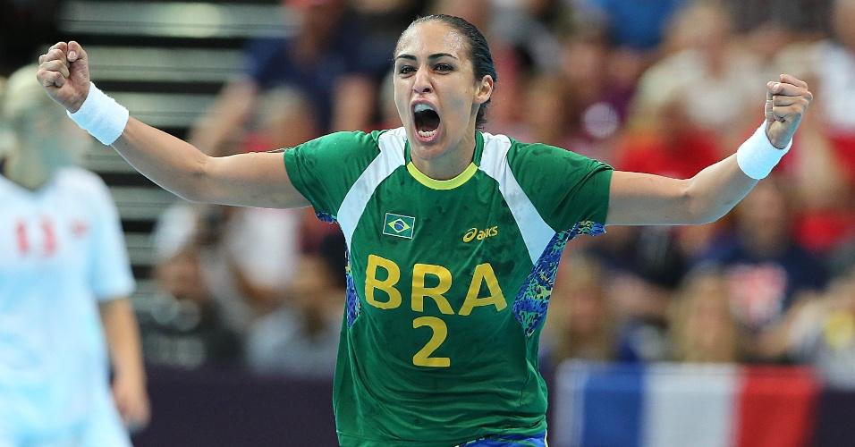 Dara vibra após marcar sobre a Noruega nas quartas de final dos Jogos Olímpicos