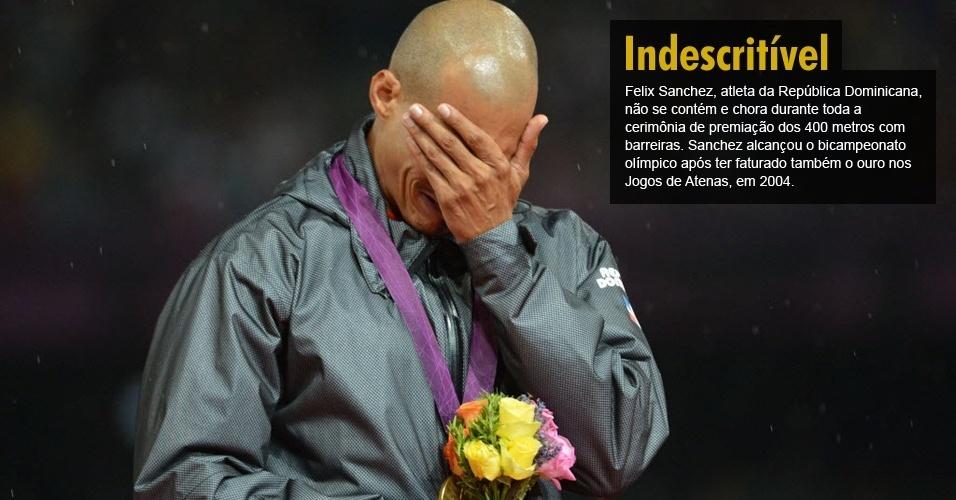 Felix Sanchez, atleta da República Dominicana, não se contém e chora durante toda a cerimônia de premiação dos 400 metros com barreiras. Sanchez alcançou o bicampeonato olímpico após ter faturado também o ouro nos Jogos de Atenas, em 2004.