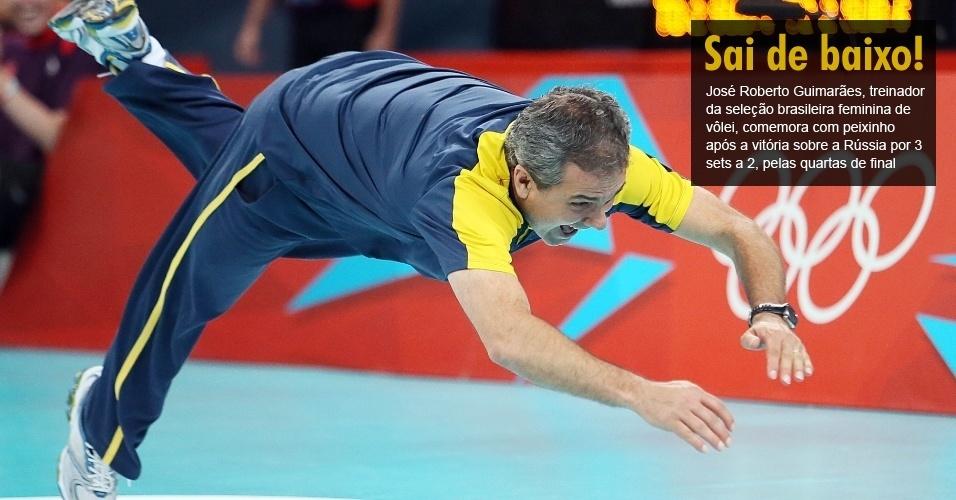 José Roberto Guimarães, treinador da seleção brasileira feminina de vôlei, comemora com peixinho após a vitória sobre a Rússia por 3 sets a 2, pelas quartas de final