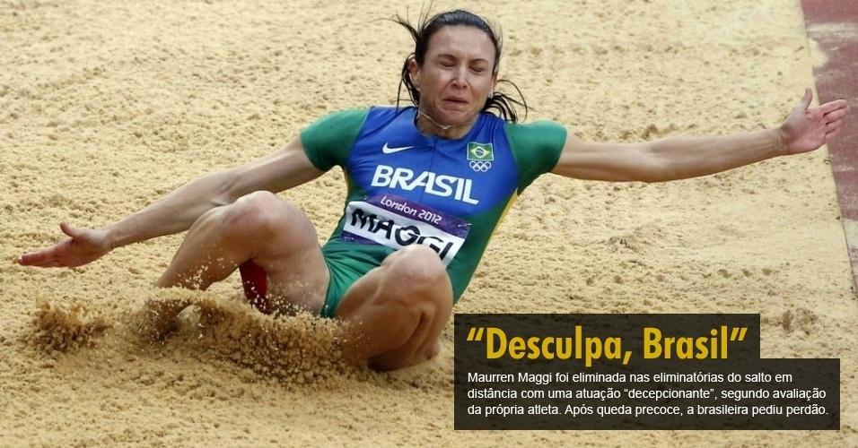 Maurren Maggi foi eliminada nas eliminatórias do salto em distância com uma atuação ?decepcionante?, segundo avaliação da própria atleta. Após queda precoce, a brasileira pediu perdão.