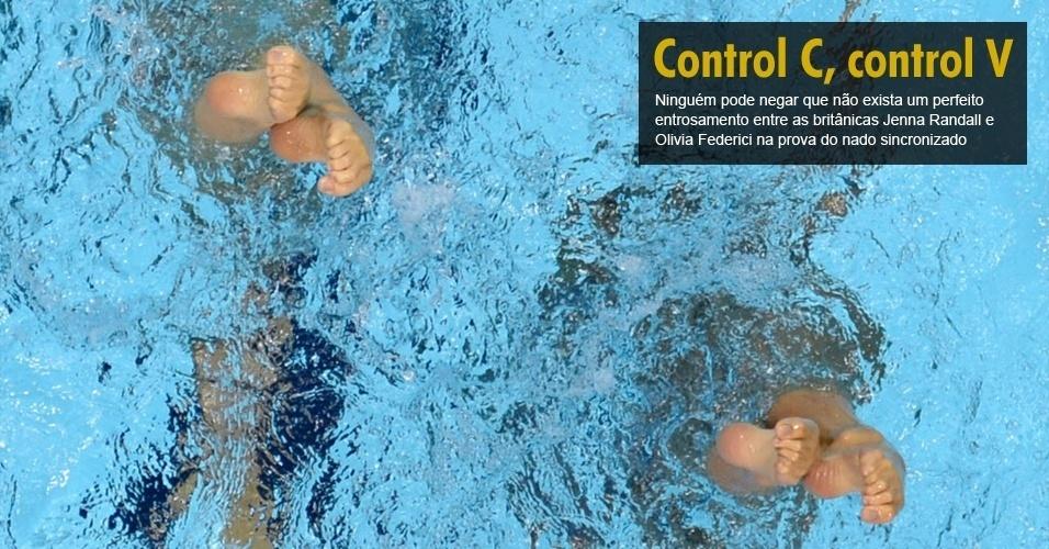 Ninguém pode negar que não exista um perfeito entrosamento entre as britânicas Jenna Randall e Olivia Federici na prova do nado sincronizado