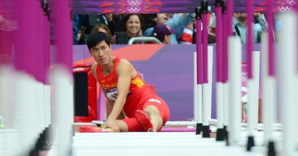 O chinês Liu Xiang sentiu a perna em queda durante disputa dos 110 m com barreiras