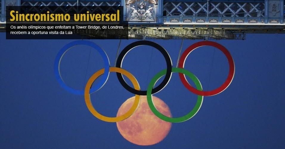 Os anéis olímpicos que enfeitam a Tower Bridge, de Londres, recebem a oportuna visita da lua