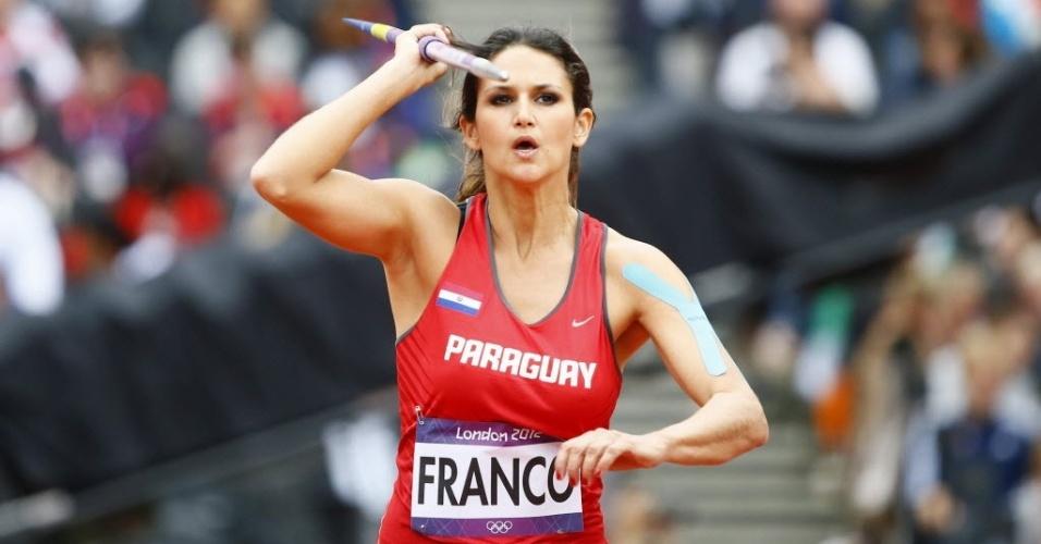 Paraguaia Leryn Franco ficou apenas em 34º lugar na eliminatória do lançamento de dardo