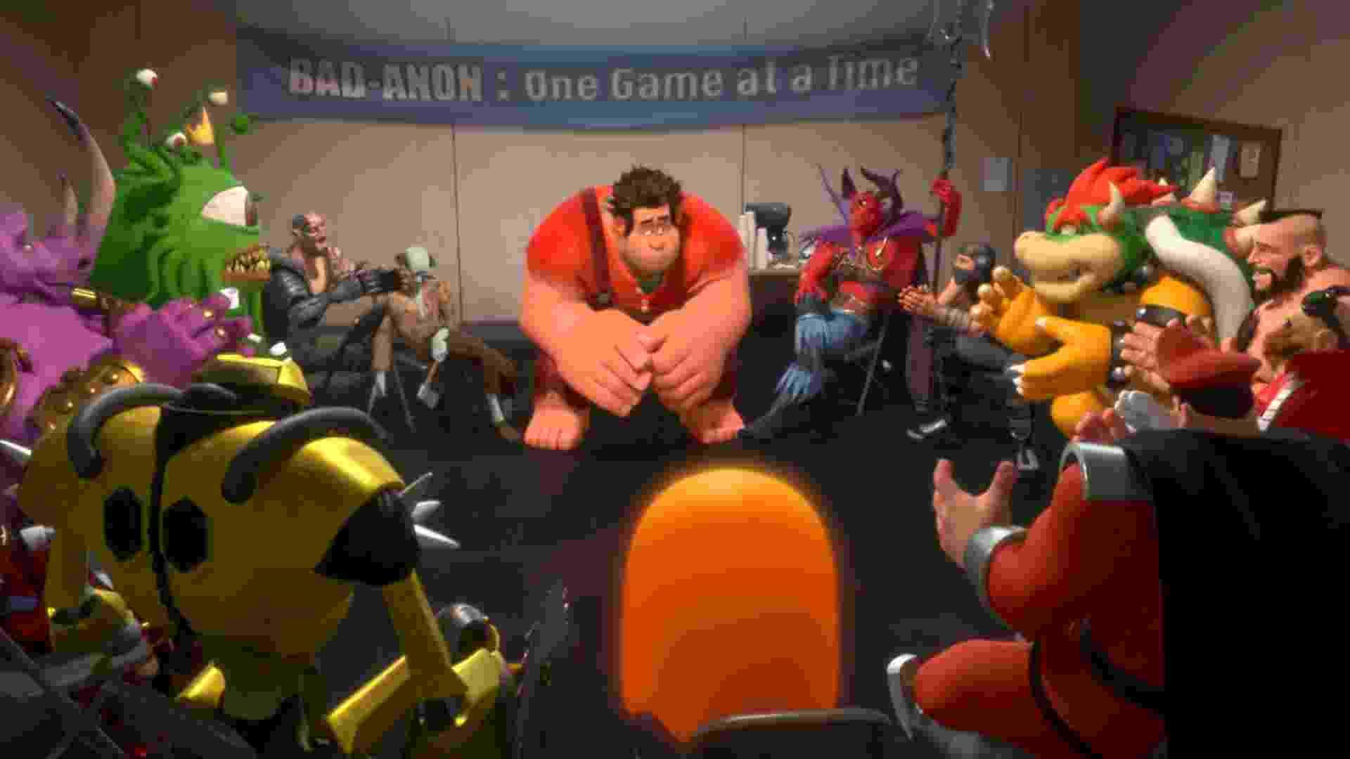 Ralph se reúne com outros vilões em uma reunião de terapia em grupo. - Divulgação