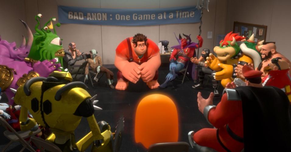 Ralph se reúne com outros vilões em uma reunião de terapia em grupo.