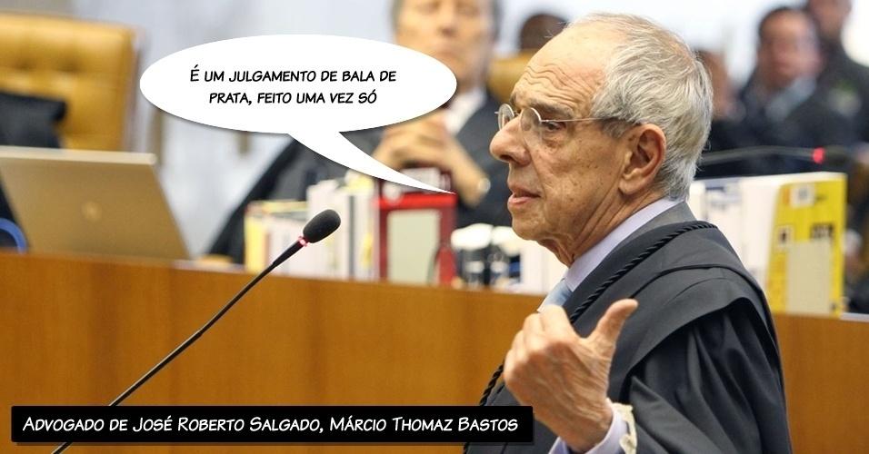 """8.ago.2012 - """"É um julgamento de bala de prata, feito uma vez só"""", disse Márcio Thomaz Bastos, que defende José Roberto Salgado, ex-diretor e ex-vice presidente do Banco Rural"""