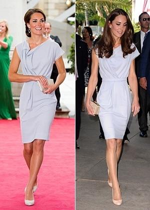 À esquerda, Kate Middleton com o look vencedor durante evento na Royal Academy Of Arts, em Londres, em julho de 2012. Ao lado, a mesma peça usada um ano antes, em Los Angeles - Getty Images