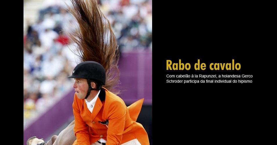 Com cabelão à la Rapunzel, a holandesa Gerco Schroder participa da final individual do hipismo