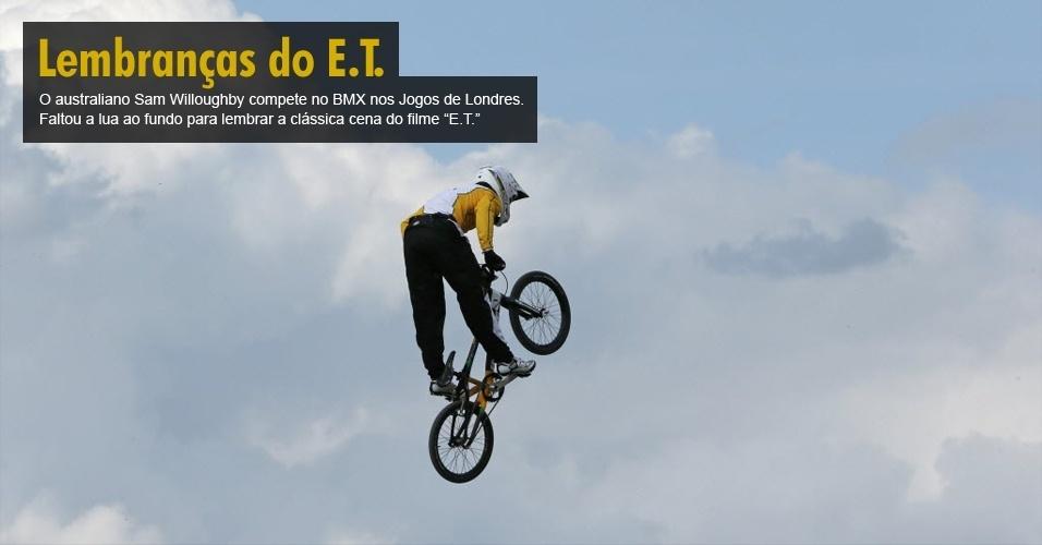 O australiano Sam Willoughby compete no BMX nos Jogos de Londres. Faltou a lua ao fundo para lembrar a clássica cena do filme ?E.T.?