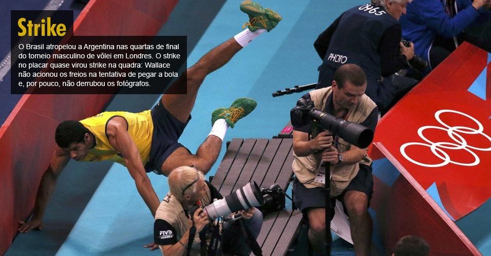 O Brasil atropelou a Argentina nas quartas de final do torneio masculino de vôlei em Londres. O strike no placar quase virou strike na quadra: Wallace não acionou os freios na tentativa de pegar a bola e, por pouco, não derrubou os fotógrafos.