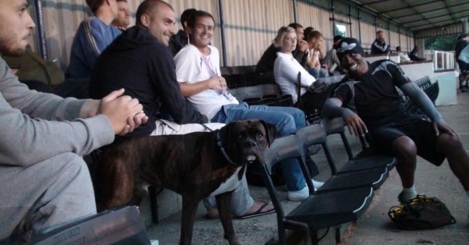 Torcedores do Corinthians-Casuals levam até cachorro para poderem acompanhar partida de seu time