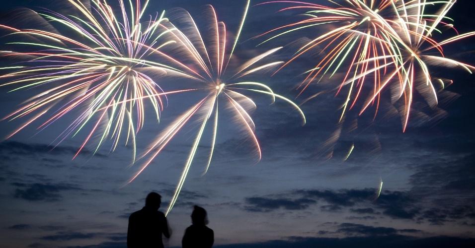 9.ago.2012 - Casal participa de 33º edição do Festival de Fogos de Artifício de Scheveningen, na Holanda