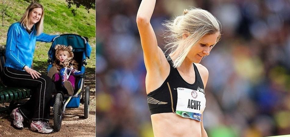 """A disputa do salto em altura nos Jogos de Londres é uma das provas que mais contará com """"mamães atletas"""" em ação. Uma delas é Amy Acuff, que já foi conhecida por seus trabalhos de modelo, inclusive com ensaio nu, e agora tem a torcida da pequena Elsa, nascida em 2010"""