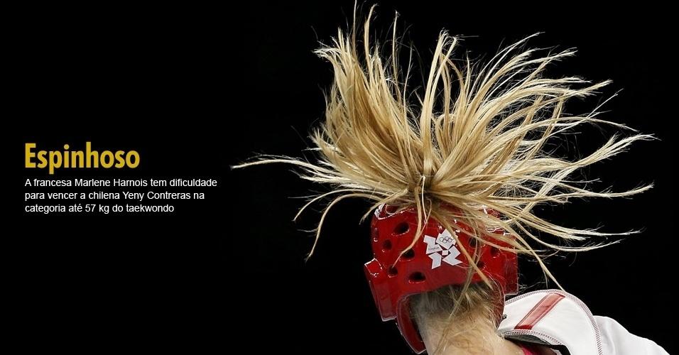 A francesa Marlene Harnois tem dificuldade para vencer a chilena Yeny Contreras na categoria até 57 kg do taekwondo