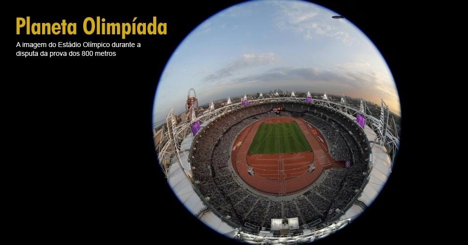 A imagem do Estádio Olímpico durante a disputa da prova dos 800 metros