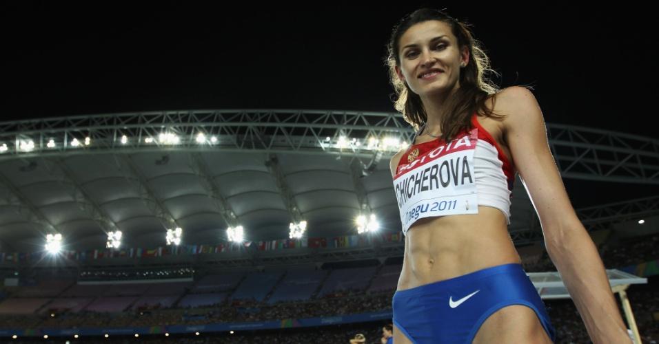 A russa Anna Chicherova é outra que entrou para o clube das mamães após Pequim-2008. Em 2010 ela teve a pequena Nika e no ano seguinte já ganhou o título mundial em Daegu.