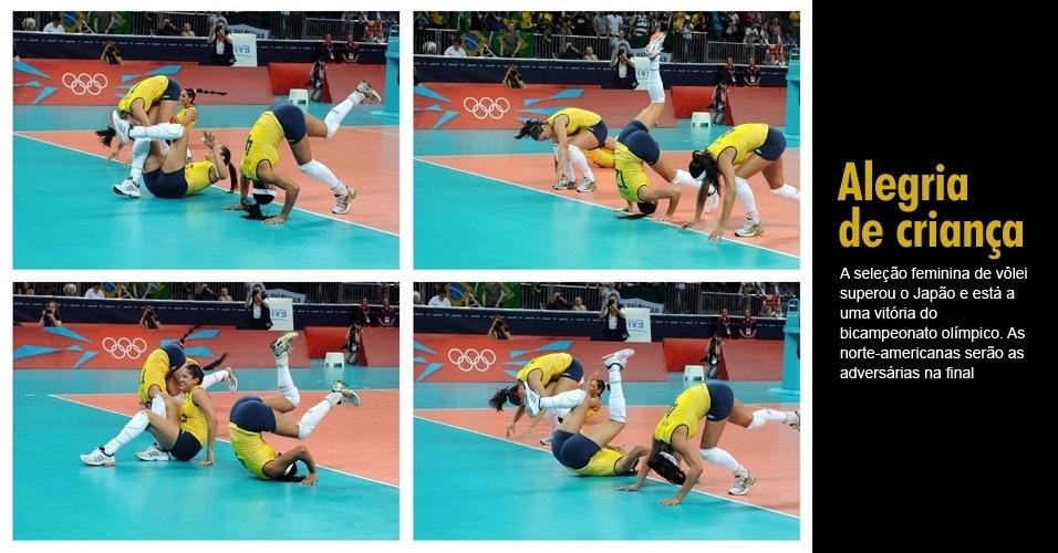 A seleção feminina de vôlei superou o Japão e está a uma vitória do bicampeonato olímpico. As norte-americanas serão as adversárias na final
