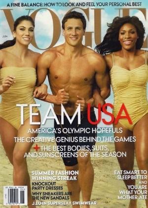 """Capa da """"Vogue"""" norte-americana de junho de 2012 com os atletas Ryan Lochte, Serena Williams (dir.) e Hope Solo - Divulgação"""